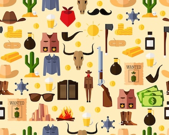Vector flat seamless texture pattern wild wild west .
