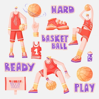 Vector flat set of basketball players, with basketball elements - basket, ball, sneakers. active sport set of basketball