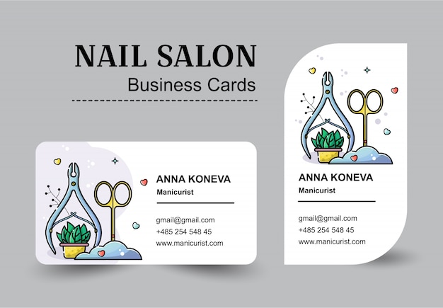 Vector flat set of business cards for nail salon