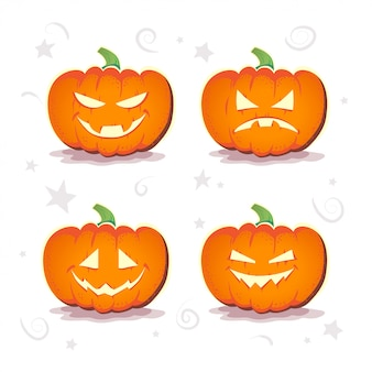 Vector flat set of halloween pumpkins.