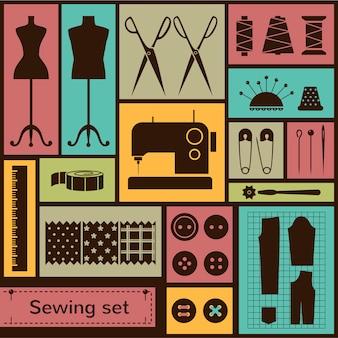 Vector flat sewing elements set