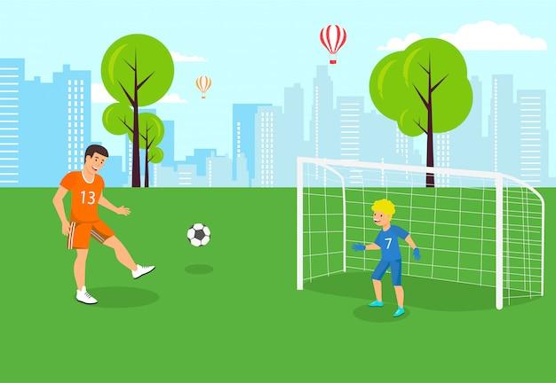 Вектор плоский футбол сын стоит ворота и поймать.