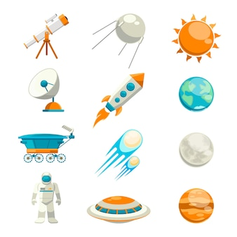 Vector flat space set. satellite and astronomy, planet exploration, astrology station