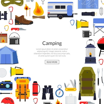 Vector flat style camping elements background illustration with place for text in center