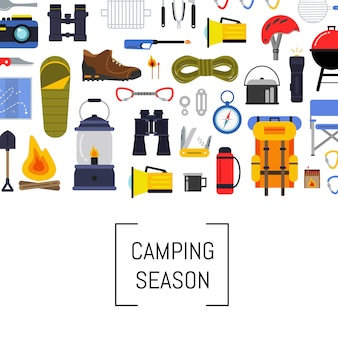 Vector flat style camping elements background illustration with place for text