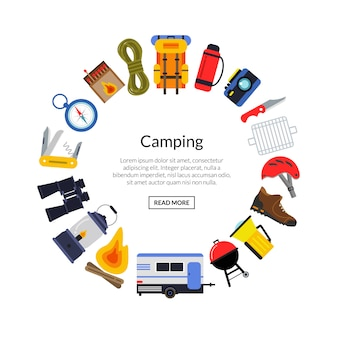 Vector flat style camping elements in circle form with place for text in center round illustration