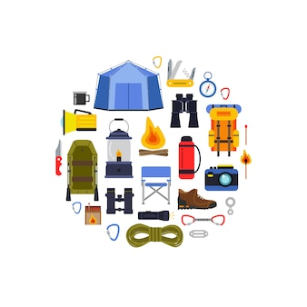 Vector flat style camping elements gathered in circle illustration. outdoor backpack, tourism and camp, knife and campfire, binoculars and compass