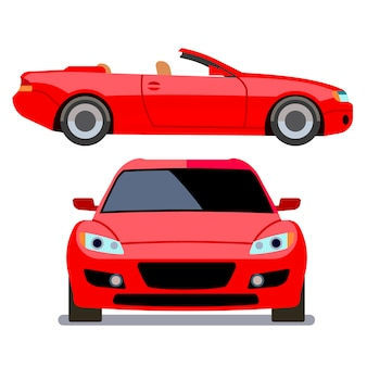 Vector flat-style cars in different views. red cabriolet transport, illustration of modern machine