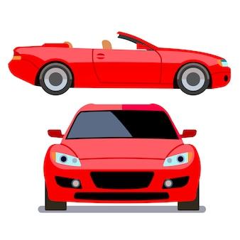 さまざまなビューでフラットスタイルの車をベクトルします。赤いカブリオレの輸送、近代的な機械の図