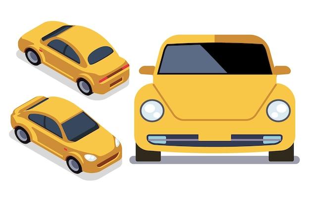 さまざまな視点のベクトルフラットスタイルの車