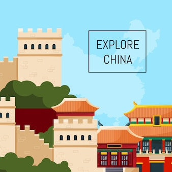Vector flat style china elements and sights background illustration with place for text