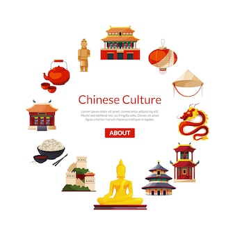 Vector flat style china elements and sights in circle form with place for text in center round illustration