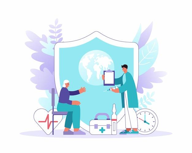 Векторная иллюстрация плоский стиль мужчины-практикующего врача с буфером обмена и шприцем, посещающим старшую пациентку против огромного щита с символом земли. всемирная неделя иммунизации