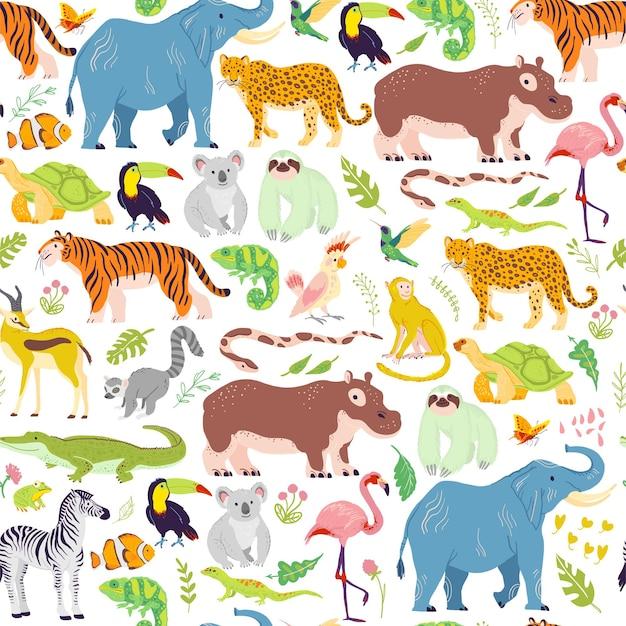 손으로 그린 정글 꽃 요소, 동물, 새가 격리된 벡터 평평한 열대 원활한 패턴입니다. 코끼리, 호랑이, 얼룩말. 포장지, 카드, 벽지, 선물 태그, 보육 장식 등