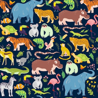 Vector flat tropical seamless pattern with hand drawn jungle floral elements, animals, birds isolated. elephant, tiger, zebra. for packaging paper, cards, wallpapers, gift tags, nursery decor etc.