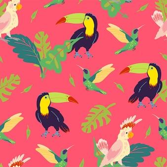 손으로 그린 정글 몬스테라 잎, 큰부리새, 벌새, 앵무새 새가 있는 벡터 평평한 열대 원활한 패턴입니다. 포장지, 카드, 벽지, 선물 태그, 보육 장식 등