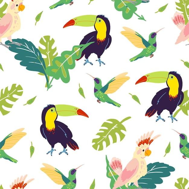 手描きのジャングルモンステラの葉、オオハシ、ハチドリ、オウムの鳥が分離されたフラットな熱帯のシームレスなパターンをベクトルします。包装紙、カード、壁紙、ギフトタグ、保育園の装飾などに。