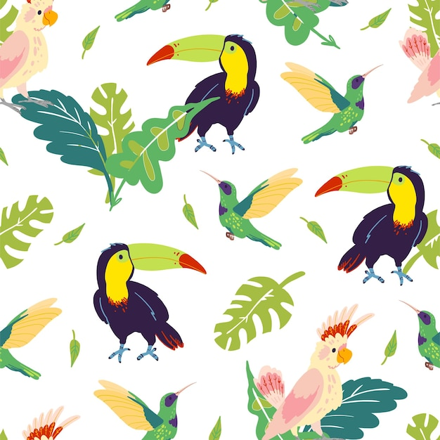 Vector flat tropical seamless pattern with hand drawn jungle monstera leaves, toucan, hummingbird, parrot birds isolated. for packaging paper, cards, wallpapers, gift tags, nursery decor etc.