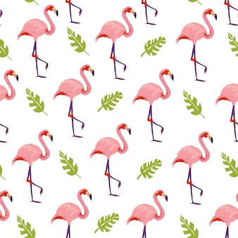 흰색 배경에 격리된 손으로 그린 정글 몬스테라 식물 플라밍고 새가 있는 벡터 평평한 열대 원활한 패턴입니다. 포장지, 카드, 벽지, 선물 태그, 보육 장식 등에 좋습니다.