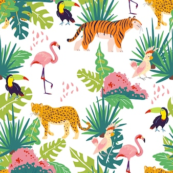 손으로 그린 정글 식물과 요소, 동물, 새가 격리된 벡터 평평한 열대 원활한 패턴입니다. 큰부리새, 플라밍고, 호랑이. 포장지, 카드, 벽지, 선물 태그, 보육 장식 등