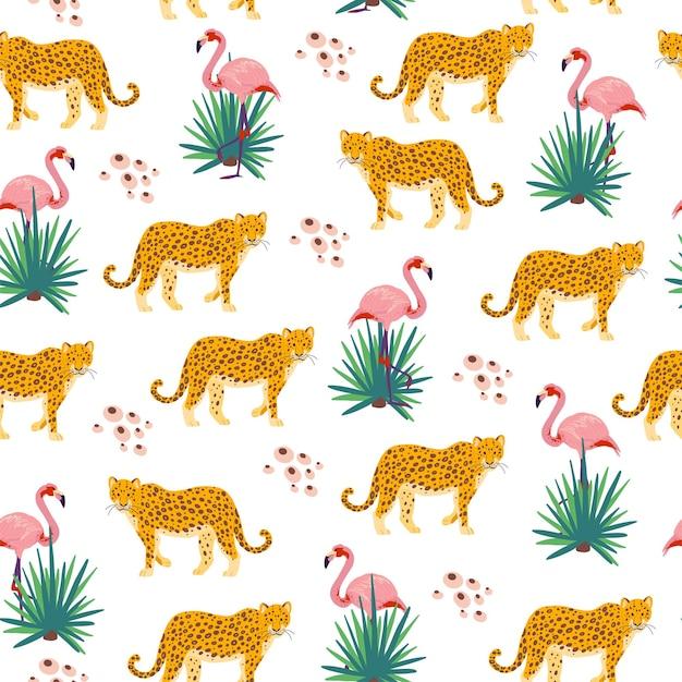 손으로 그린 정글 식물, 표범 동물, 플라밍고 새가 있는 벡터 평평한 열대 원활한 패턴입니다. 포장지, 카드, 벽지, 선물 태그, 보육 장식 등에 좋습니다.