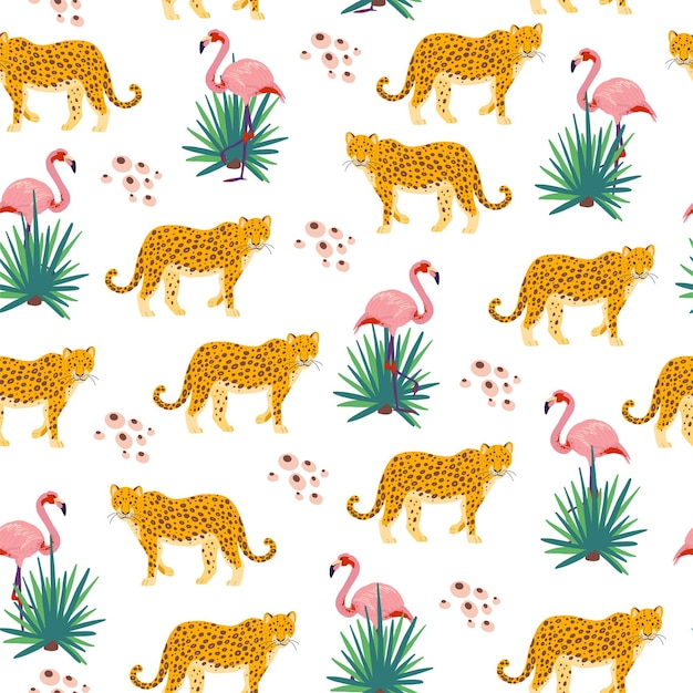 Vector flat tropical seamless pattern with hand drawn jungle plants, leopard animals, flamingo birds isolated. good for packaging paper, cards, wallpapers, gift tags, nursery decor etc.