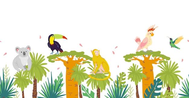 손으로 그린 정글 나무와 요소, 코알라, 원숭이 동물, 앵무새, 큰부리새 새가 있는 벡터 평평한 열대 매끄러운 패턴입니다. 포장지, 카드, 월페이퍼, 선물 태그, 보육 장식용.