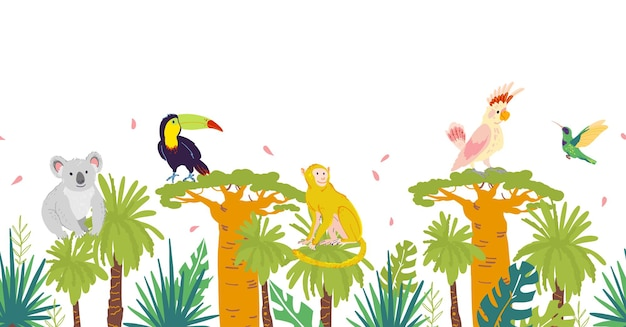 Vector flat tropical seamless pattern with hand drawn jungle trees and elements, koala, monkey animals, parrot, toucan birds isolated. for packaging paper, cards, wallpapers, gift tags, nursery decor.