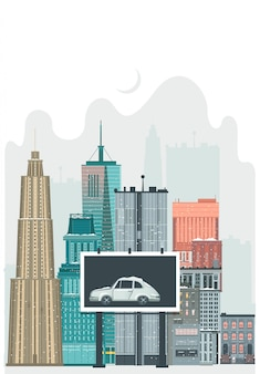Vector flat urban landscape, skyline illustration