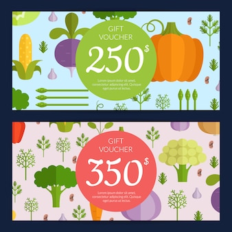 Vector flat vegetables vegan shopping voucher templates. illustration banner templates
