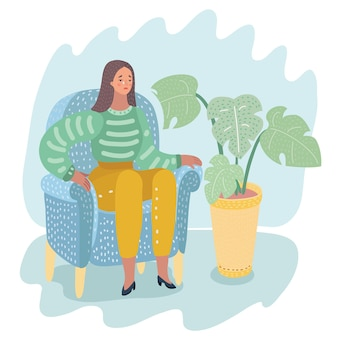 Вектор плоская женщина в красной юбке, на каблуках плачет, сидя на стуле. несчастный женский персонаж страдает от разочарования, горя. изолированная иллюстрация на белой предпосылке. концепция психического заболевания