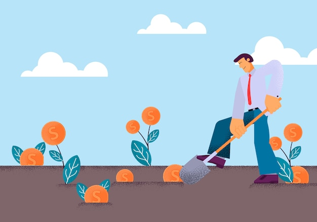 Vector flat young man digging with shovel vegetable garden