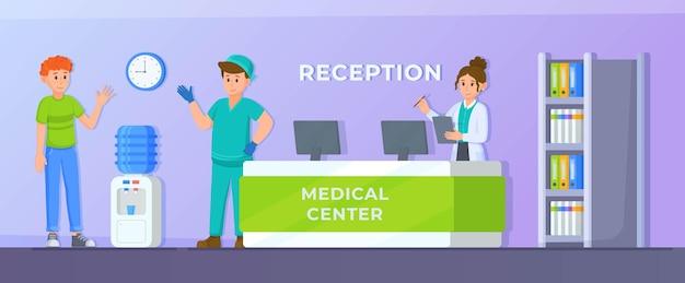 Векторная иллюстрация flatpanel современный интерьер больничной палаты с мебелью и оборудованием