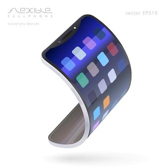 Вектор гибкий смартфон. модный сотовый телефон, который может сгибаться в электронный браслет. реалистичное 3d устройство. простой абстрактный интерфейс. воображаемый мобильный гаджет сгибается в браслет.