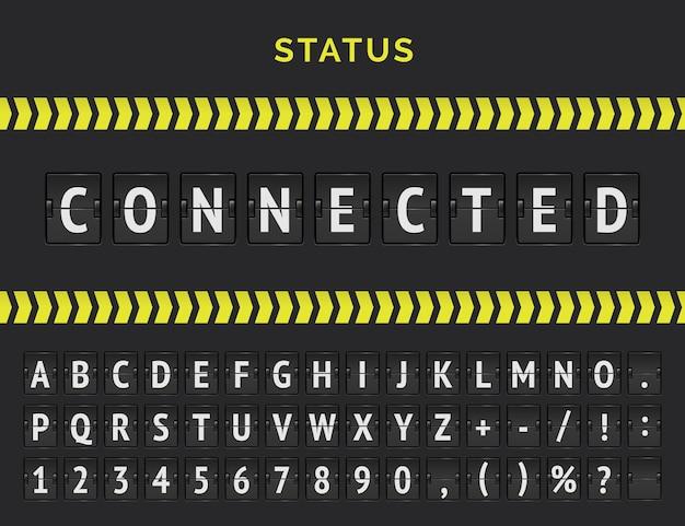 接続されたフライトステータスのベクトルフライト情報ボード。機械式空港フリップボードフォント