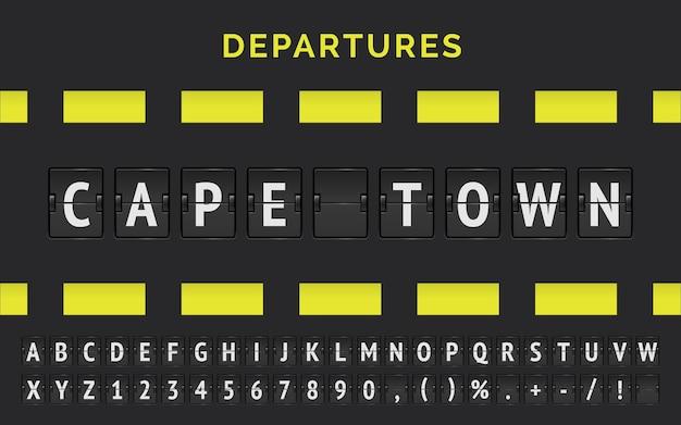 기계식 공항 플립 보드 글꼴 및 비행기 출발 기호가있는 아프리카의 케이프 타운에서 목적지의 벡터 비행 정보.