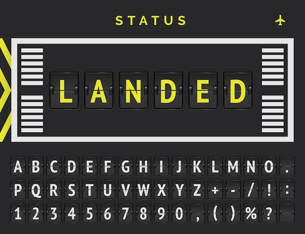 Vector flip font announces that flight is landed. flight departure status in airport runway markup style.