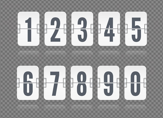Vector flip scoreboard set with numbers and reflections floating for white countdown timer or web page watch or calendar isolated on dark transparent background