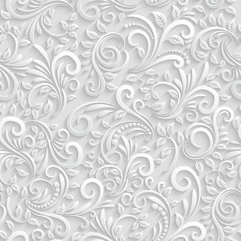 벡터 꽃 3d 완벽 한 패턴 배경입니다. 크리스마스 및 초대장 장식용