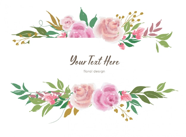 Vector floral banner template with rose flowers and leaves