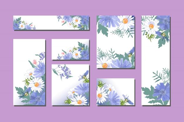 かわいい青と白の花を持つベクトル花カード。