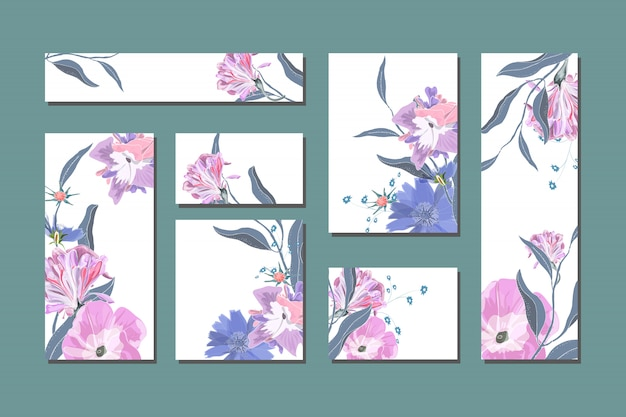 Vector floral cards with cute blue and white flowers.