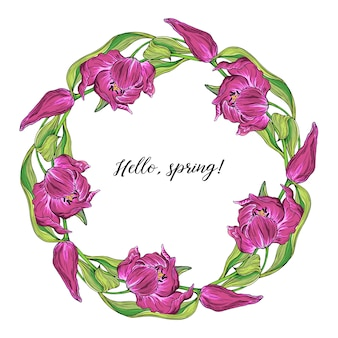 Vector floral colored spring round frame with tulip flowers