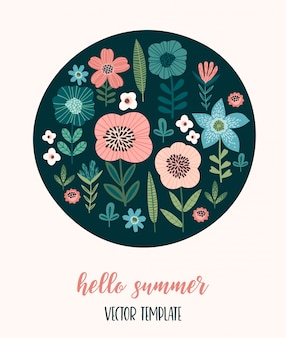 Vector floral design with cute flowers.