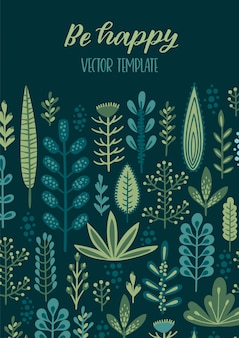 Vector floral design with cute herbs and leaves.