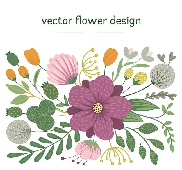 ベクターの花。花、葉、枝を持つフラットなトレンディなイラスト。牧草地、森林、森林クリップアート。フラットなトレンディなデザイン