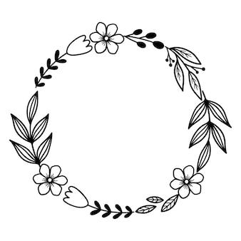 枝と花のベクトル花フレーム外形図線ベクトル図