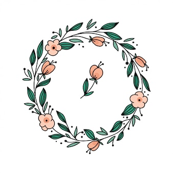 Vector floral frame with branches and flowers.