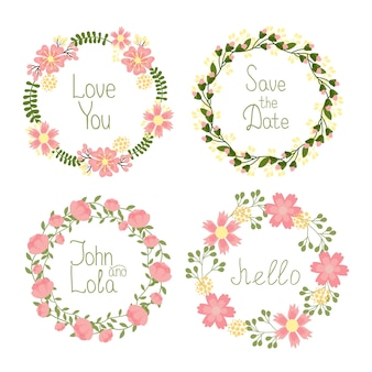 Vector floral frame wreaths set for wedding invitations