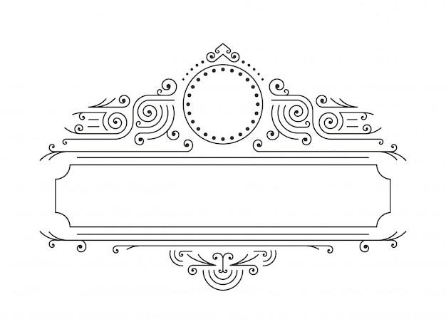Vector floral frames in mono line style